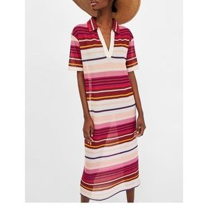 Zara Sheer Knit Stripe Midi Polo Dress